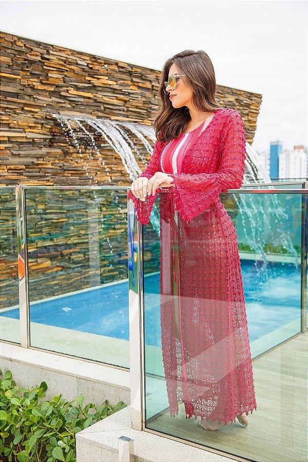 Kimono Maxi Crochet Rosa Flor de Jambo| kimono saída de praia| Coleteria