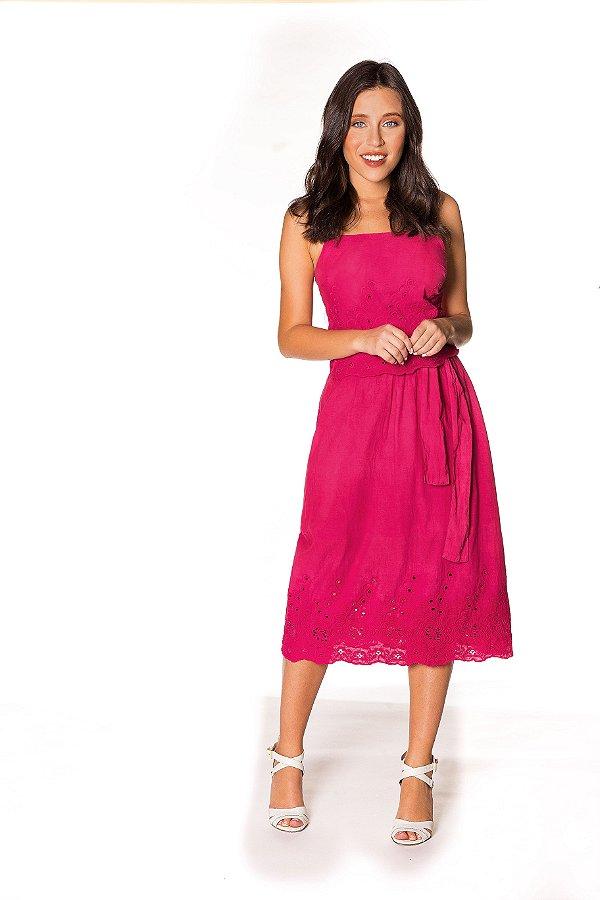 Saia Midi Tecido Barrado rosa|saia| Coleteria