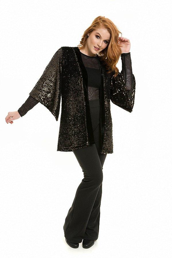Kimono Veludo Paetê |Kimono| Coleteria