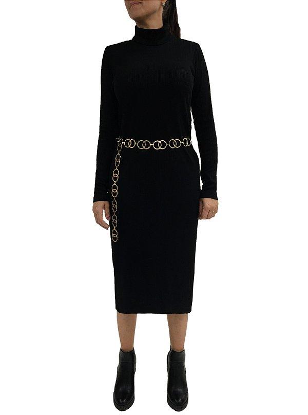 Vestido Midi Ribana Preta |vestido| Coleteria