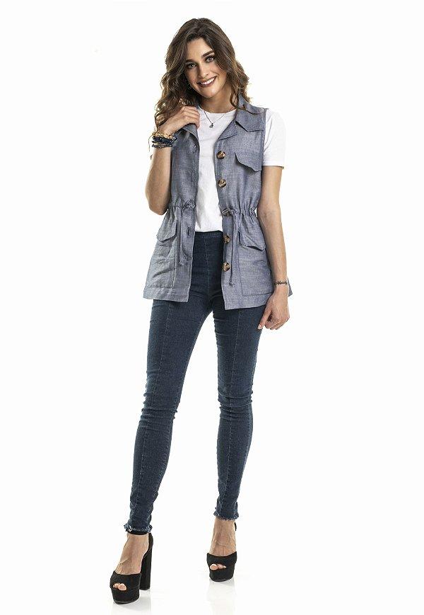 Colete Parka Azul Jeans com Botões |colete| Coleteria