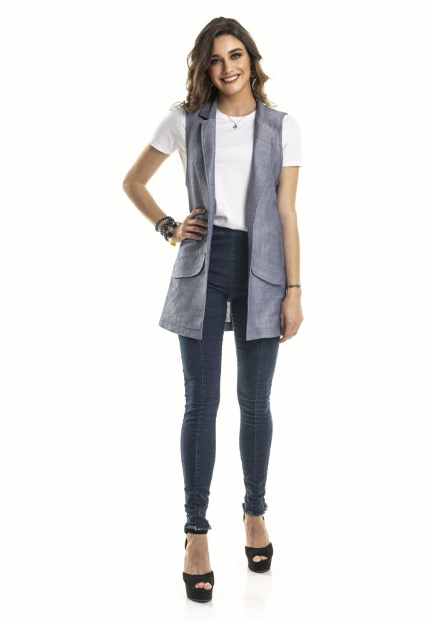 Colete Social Alfaiataria cor Jeans |colete|Coleteria
