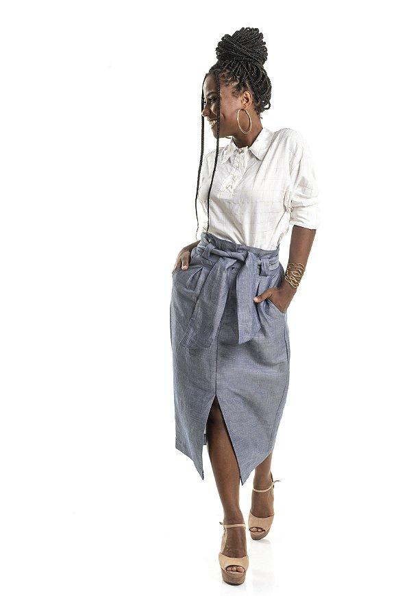 Saia Midi Alfaiataria cor Jeans|saia|Coleteria