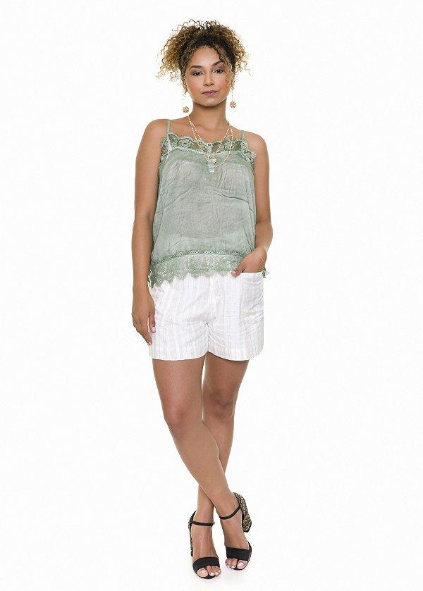 Blusa Regata Verde Renda |Blusa|Coleteria