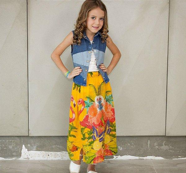 colete jeans de patchwork | cara de uma kids | coletânea santa do pau oco