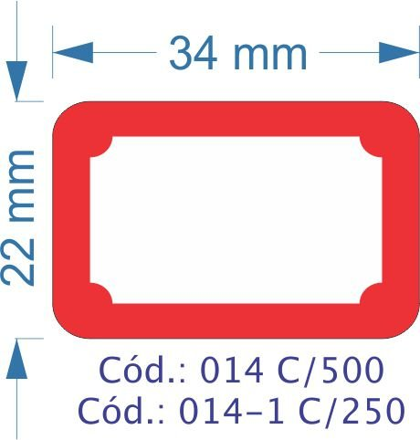 Etiqueta 34X22mm com 500 etiquetas (Borda Vermelha)