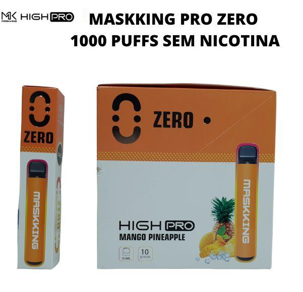 PROMOÇÃO NA VENDA DA CAIXA COM 10 UNIDADES - MK - MANGO PINEAPPLE -  ZERO NICOTINA - MASKKING HIGH PRO  - DESCARTAVEL - 1000 PUFFS