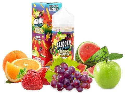 LIQUIDOS BAZOOKA - TROPICAL THUNDER RAINBOW STRAWS - SOUR STRAWS - 100 ML - 3MG