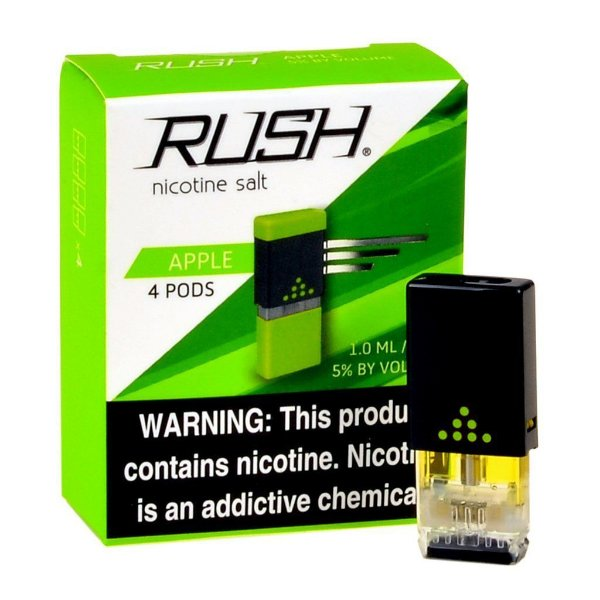 REFIL RUSH (PACK 4) APPLE - 100% JUUL COMPATIVEL E COM MAIS LIQUIDO