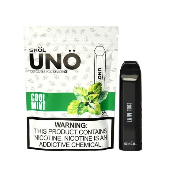 UNO POD DEVICE MINT - DESCARTAVEL 3PCS  - 6% NICOTINA - SKOL