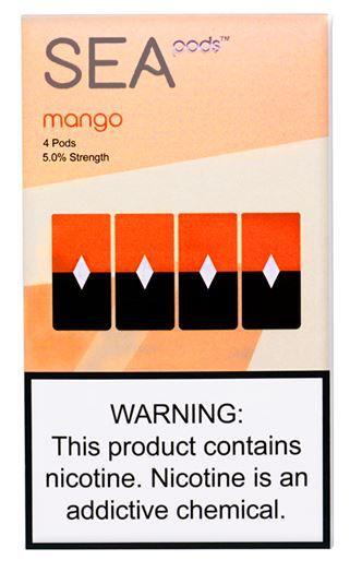 SEA PODS COMPATIVEL JUUL  - 5% Salt Nicotine - MANGO  (1 CAIXA (REFIL) COM 4 PODS).