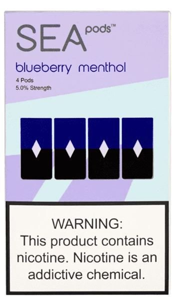 SEA PODS COMPATIVEL JUUL  - 5% Salt Nicotine - BLUEBERRY MENTHOL (1 CAIXA (REFIL) COM 4 PODS)