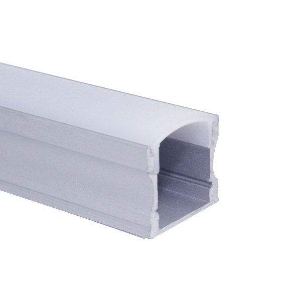 Perfil de Sobrepor Para Fita LED Com difusor em Acrílico Leitoso 2 metros LUM12