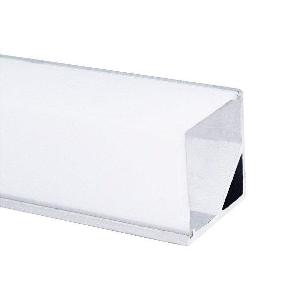 Perfil de Sobrepor Canto Quadrado Para Fita LED Com Difusor em Acrílico Leitoso 2 Metros - LUM31