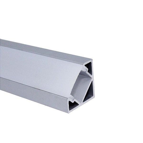 Perfil de Sobrepor Canto Triângulo Para Fita LED Com Difusor em Acrílico Leitoso 1 Metro - LUM33