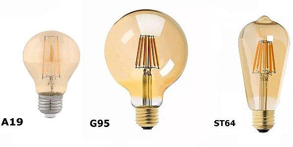 Lâmpada de Filamento de LED Dimerizável 2200k  127V Âmbar