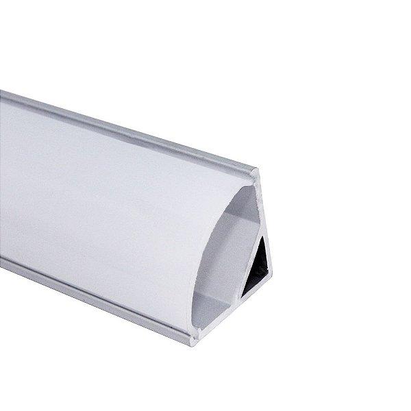 Perfil de Sobrepor 2 Metros Canto Redondo Para Fita LED Com Difusor em Acrílico Leitoso - LUM32
