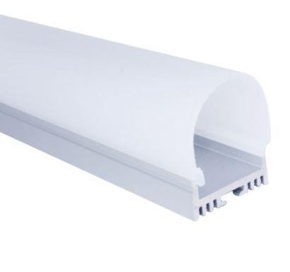 Perfil de Sobrepor 2 Metros Cilindrico 180º Para Fita LED Com Difusor Leitoso EKPF81 - Eklart