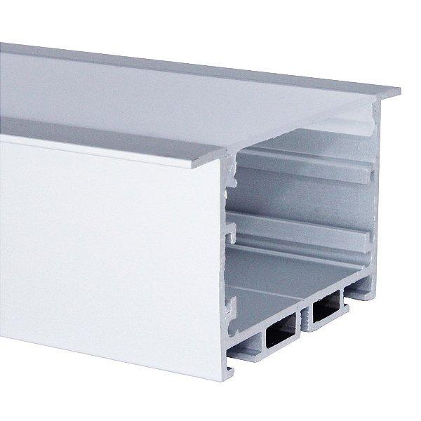 Perfil de Embutir 2 Metros Para Fita LED Com Difusor Leitoso - LUM52