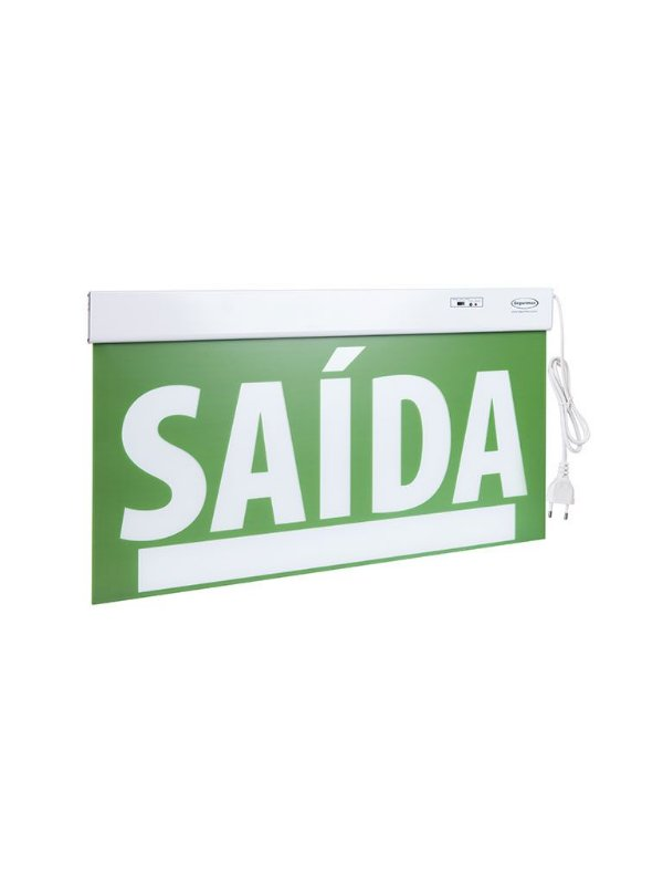 Sinalização de Saída PREMIUM Dupla Face verde com seletor e adesivo 29,6x22,6cm - 23759