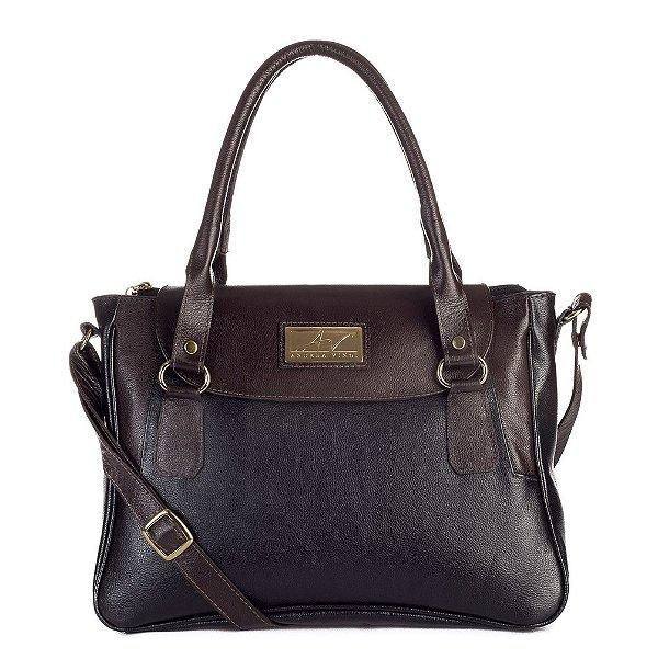 Bolsa Danna em couro legítimo preta/café