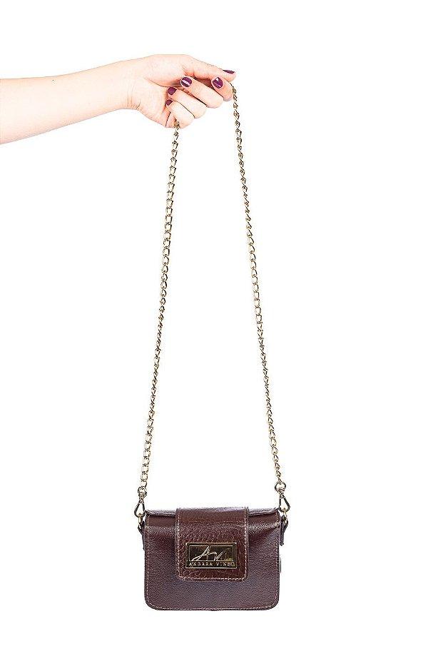 Mini bolsa de festa em couro legítimo café + alça de metal