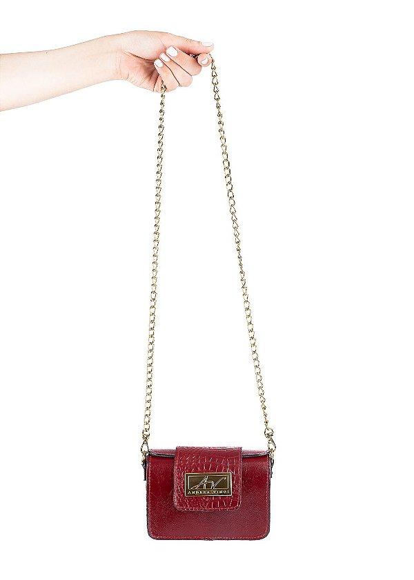 Mini bolsa de festa em couro legítimo vermelha + alça de metal