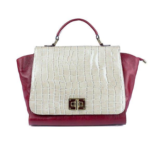 Bolsa Rosie em couro legítimo vermelha