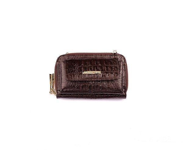 Carteira Mini Bag Mary com alça em couro legítimo café