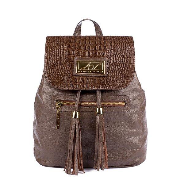 Mochila saco feminina em couro legítimo chocolate