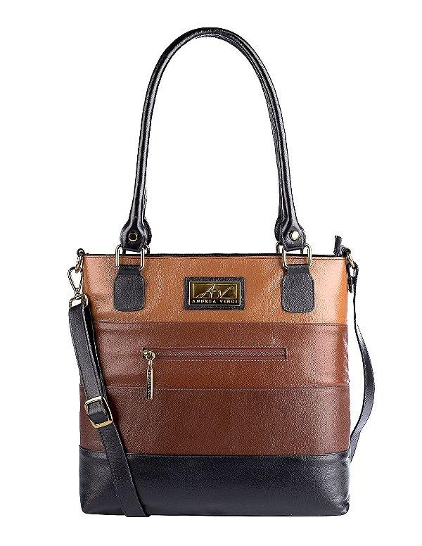 Bolsa Alice em couro legítimo preta