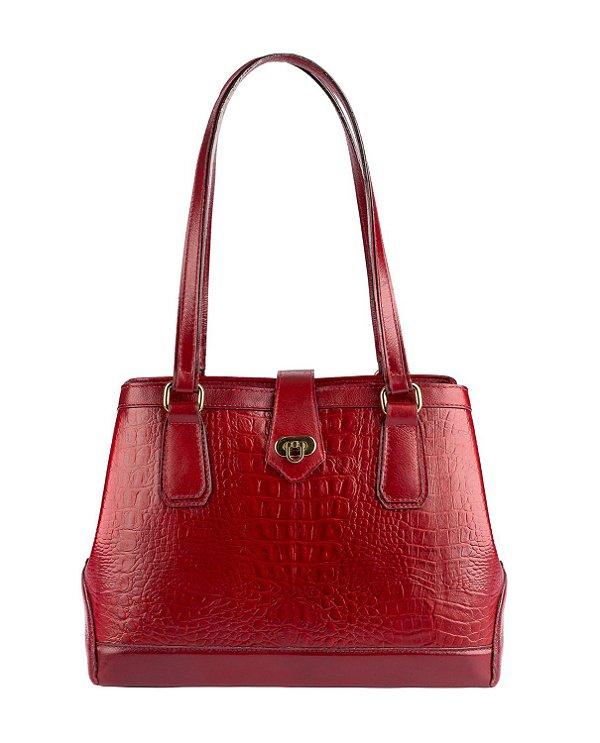 Bolsa Louise em couro legítimo vermelha