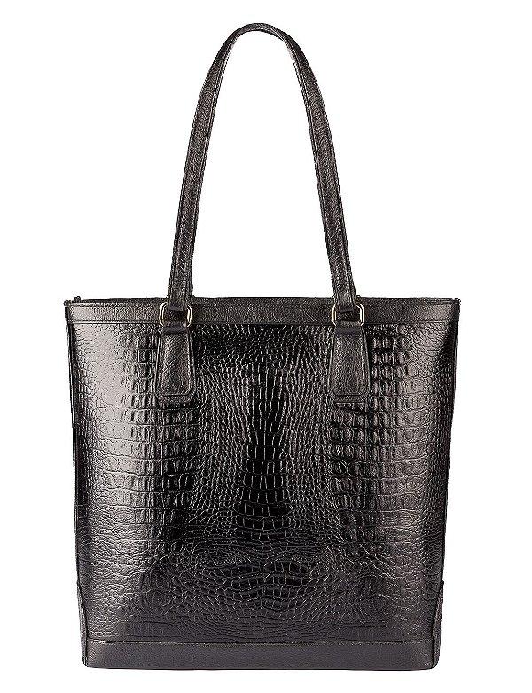 Bolsa Esther em couro legítimo preta