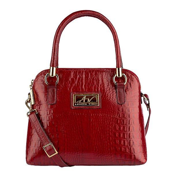 Bolsa de mão em couro Donna vermelha