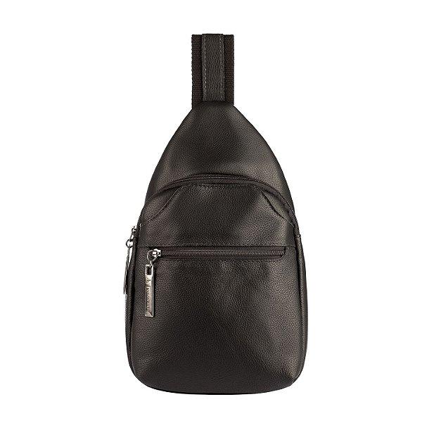 Mini mochila transversal de couro masculina Jeff preta