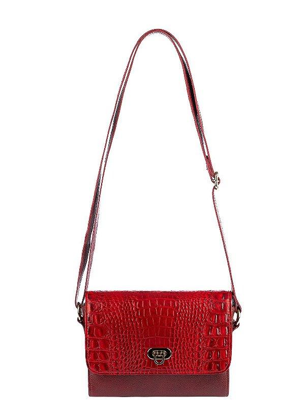 Mini bolsa Meg em couro legítimo vermelha