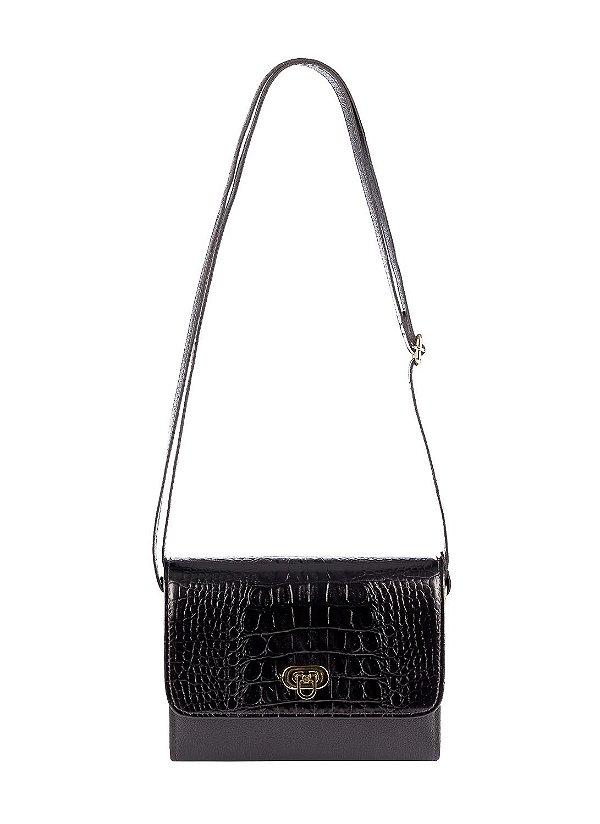 Mini bolsa Meg em couro legítimo preta