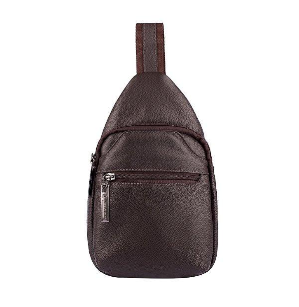 373df8433 Mini mochila transversal de couro café - Enluaze | Bolsas e ...