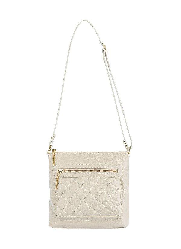 Bolsa tiracolo de couro feminina Bia marfim