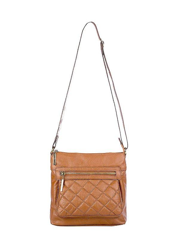 Bolsa tiracolo de couro feminina Bia caramelo
