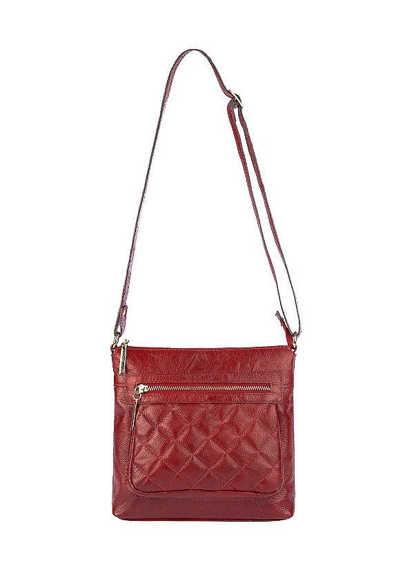 Bolsa tiracolo de couro feminina Bia vermelha