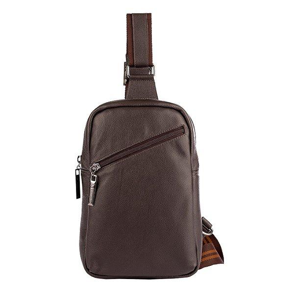 Mini mochila transversal de couro masculina Eric café