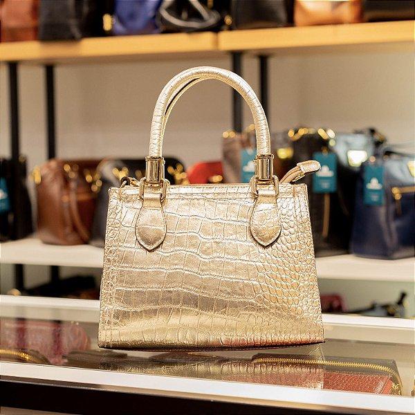 Mini bolsa de couro legítimo Andressa dourada