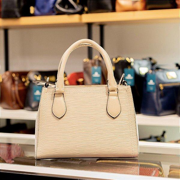 Mini bolsa de couro legítimo Andressa marfim