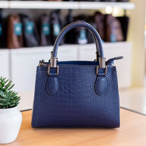 Mini bolsa de couro legítimo Andressa azul