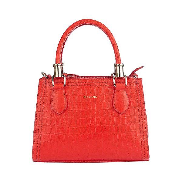 Bolsa de couro legítimo Andressa vermelha