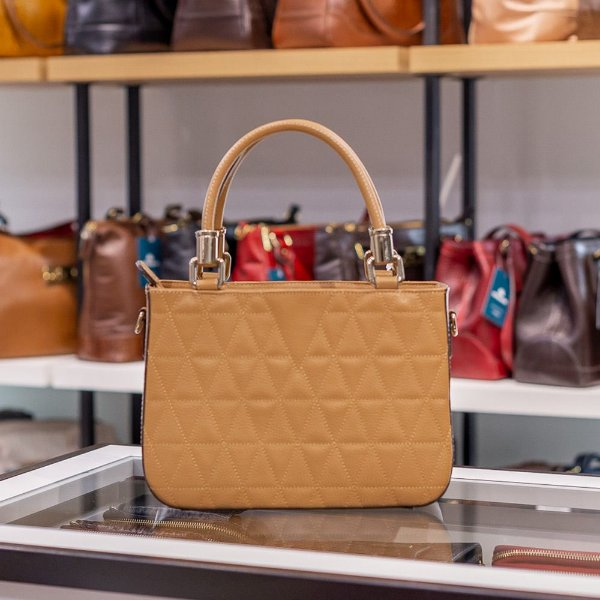 Bolsa de couro estruturada Julia camel