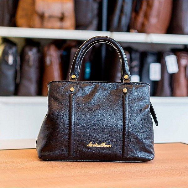 Bolsa de mão Melina em couro preta