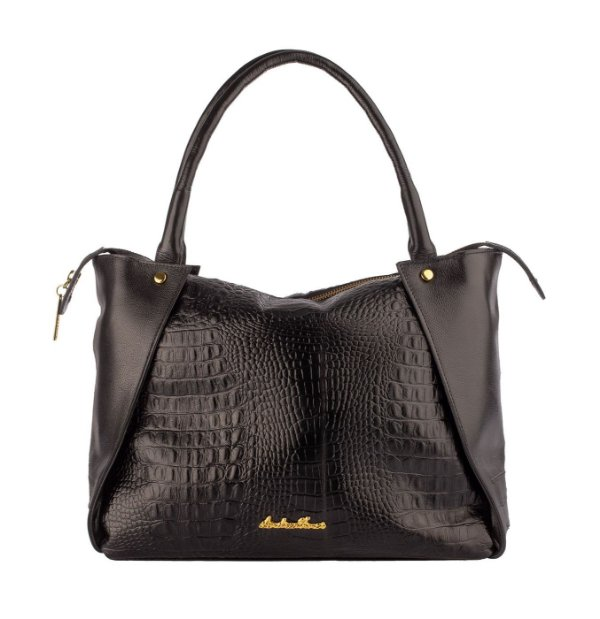 Bolsa de couro legítimo Pollyana preta