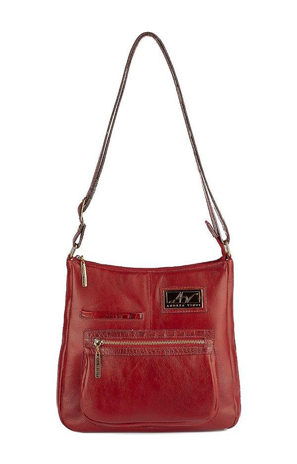 Bolsa tiracolo grande em couro Denise vermelha